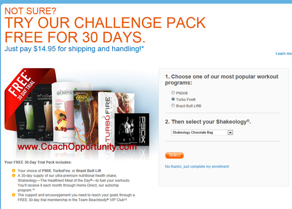 Free Beachbody Coach Challenge Pack trial offer